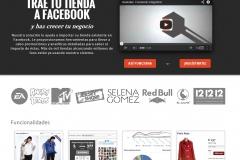 F-Commerce. Ejemplo de plataforma para tienda on-line en Facebook.