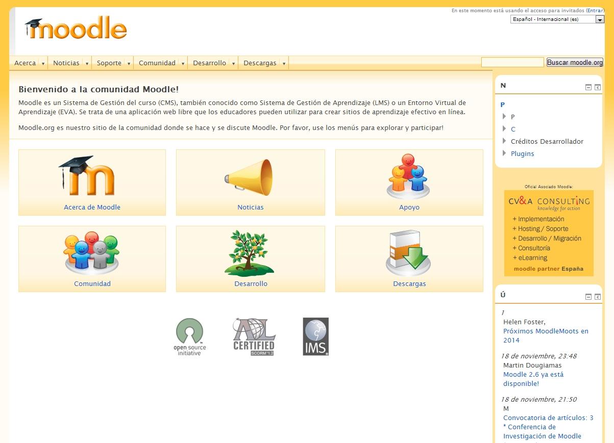 Portales web de Educación on-line de código abierto: Moodle.