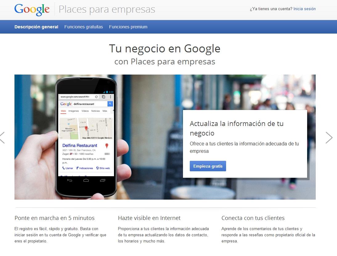 Geolocalización web mediante Google Places.