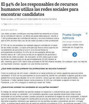 Noticias sobre la importancia de las Redes Sociales en la búsqueda de empleo
