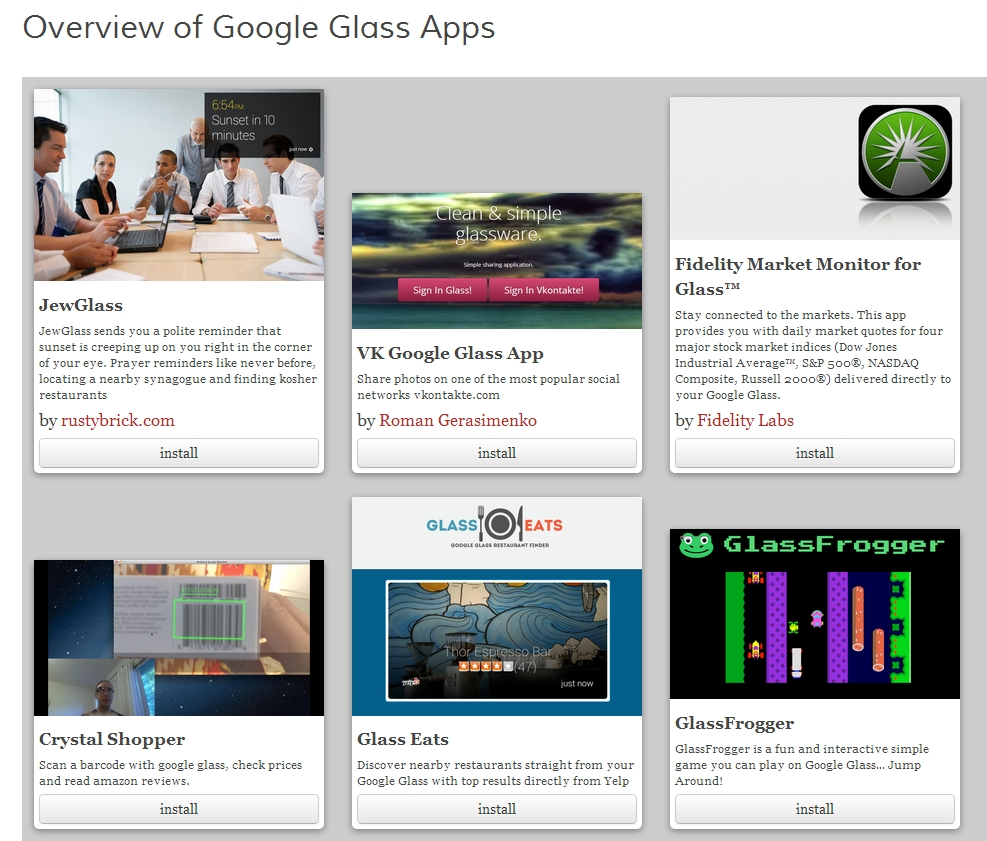 Aplicaciones para Google Glass del repositorio de Google - www.coaching-tecnologico.com